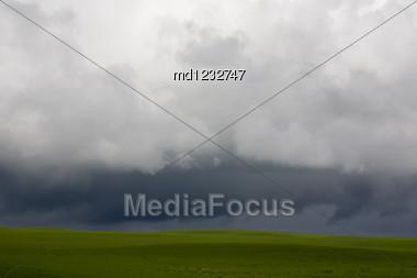 Storm Clouds Saskatchewan Agriculture Field Prairie Crop Stock Photo