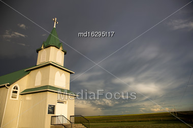 Storm Clouds Saskatchewan Country Church In Canada Stock Photo