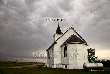 Storm Clouds Saskatchewan Country Church Rural Canada Stock Photo