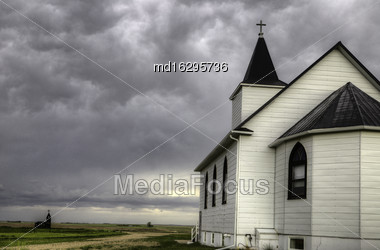 Storm Clouds Saskatchewan Country Church Rural Canada Stock Photo