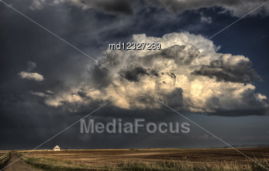 Royalty Free Stock Photo Storm Clouds Saskatchewan With Country Church At Sunset