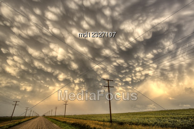 Storm Clouds Saskatchewan Mammatus Formation Weyburn Canada Stock Photo