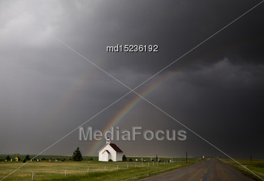Storm Clouds Saskatchewan Ominous Skies And Warnings Stock Photo