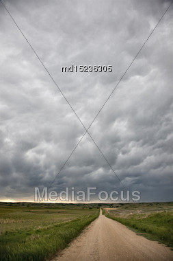 Storm Clouds Saskatchewan Ominous Skies And Warnings Stock Photo
