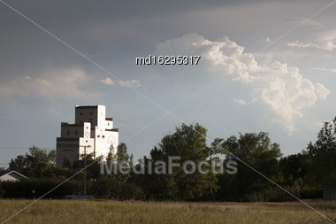 Storm Clouds Saskatchewan Prairie Grain Elevator Canada Stock Photo