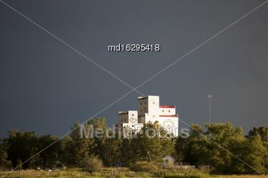 Storm Clouds Saskatchewan Prairie Grain Elevator Canada Stock Photo