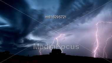 Storm Clouds Saskatchewan Prairie Lightning Night Canada Stock Photo