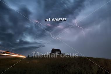 Storm Clouds Saskatchewan Prairie Lightning Night Canada Stock Photo