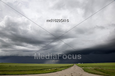 Storm Clouds Saskatchewan Prairie Scene Canada Farm Stock Photo
