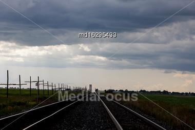 Storm Clouds Saskatchewan Prairie Scene Canada Farm Train Tracks Stock Photo