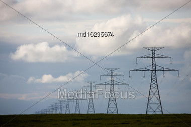Storm Clouds Saskatchewan Prairie Scene Canada Power Lines Stock Photo