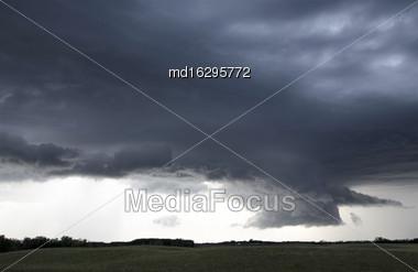 Storm Clouds Saskatchewan Prairie Scene Canada Farm Stock Photo