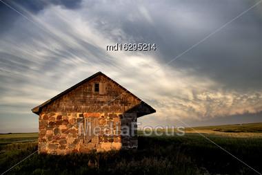 Storm Clouds Saskatchewan Prairie Scene Stone House Stock Photo