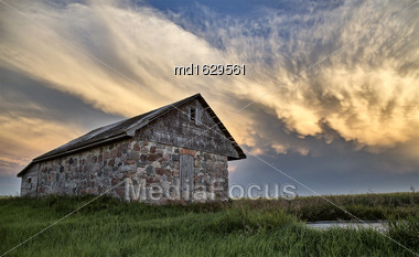 Storm Clouds Saskatchewan Prairie Scene Stone House Stock Photo