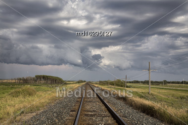 Storm Clouds Saskatchewan Prairie Scene Train Tracks Stock Photo