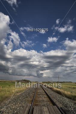 Storm Clouds Saskatchewan Prairie Scene Train Tracks Stock Photo