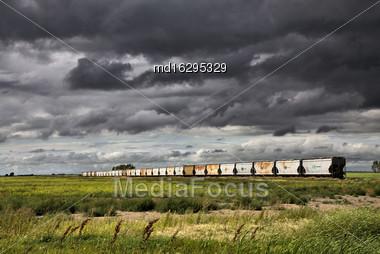 Storm Clouds Saskatchewan Prairie Scene Train Stock Photo