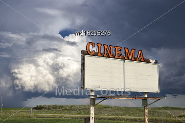 Storm Clouds Saskatchewan Prairie Vintage Drive In Sign Stock Photo