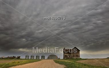 Storm Clouds Saskatchewan Rural In Saskatchewan Canada Stock Photo
