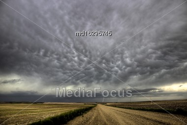 Storm Clouds Saskatchewan Rural In Saskatchewan Canada Stock Photo