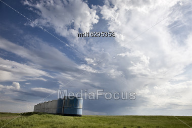 Storm Clouds Saskatchewan Storm Building With Blue Sky Stock Photo