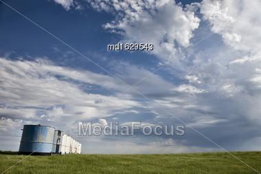 Storm Clouds Saskatchewan Storm Building With Blue Sky Stock Photo