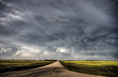Storm Clouds Saskatchewan Summer Scenic Imaging Canada Stock Photo