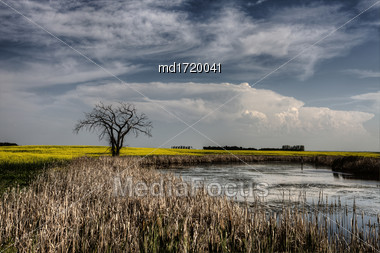 Storm Clouds Saskatchewan Summer Scenic Imaging Canada Stock Photo