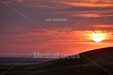 Storm Clouds Saskatchewan Sunset In The Badlands Stock Photo