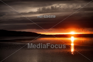 Storm Clouds Saskatchewan Sunset Reflection Saskatchewan Lake Orange Stock Photo