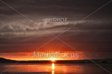 Storm Clouds Saskatchewan Sunset Reflection Saskatchewan Lake Orange Stock Photo