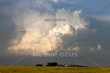Storm Clouds Saskatchewan Thunderhead Billowing Over Farm Land Stock Photo