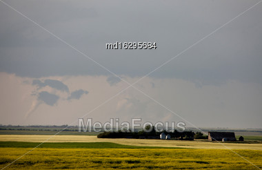 Storm Clouds Saskatchewan Tornado On The Ground Stock Photo