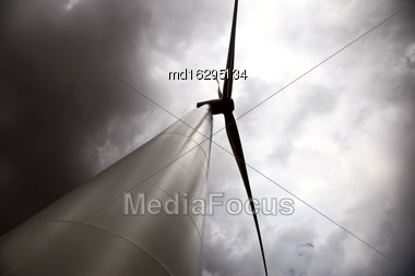 Storm Clouds Saskatchewan Wind Farm Electricity Turbine Stock Photo
