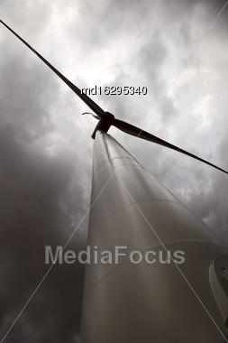 Storm Clouds Saskatchewan Wind Farm Electricity Turbine Stock Photo
