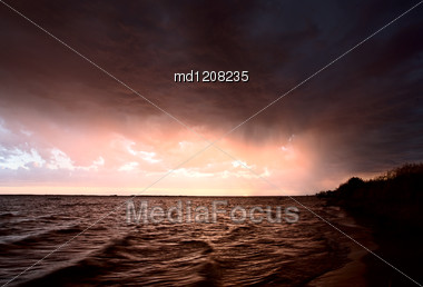 Storm Over Lake Diefenbaker Saskatchewan Canada Sunset Stock Photo