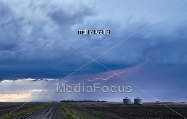 Storm Lightning Rural Canada Country Road Saskatchewan Stock Photo