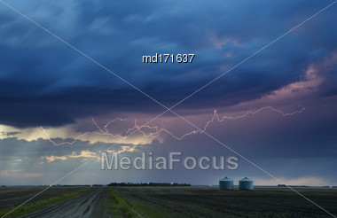 Storm Lightning Rural Canada Country Road Saskatchewan Stock Photo