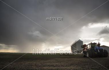 Storm In Rural Saskatchewan Canada Farm Land Stock Photo
