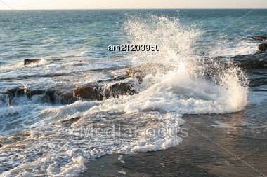 Storm On The Sea Shore Of The Caspian Sea. Month Of February. Stock Photo
