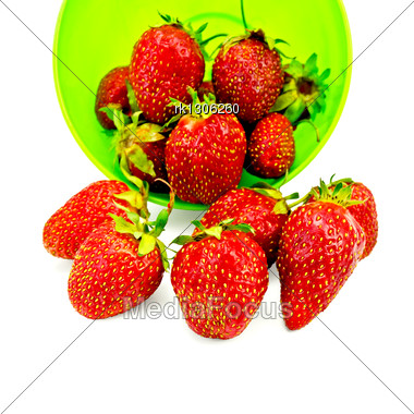 Strawberries In A Green Plastic Cup Stock Photo