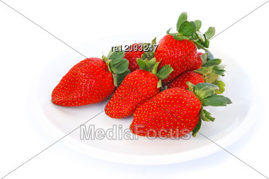 Strawberries In Plate Stock Photo