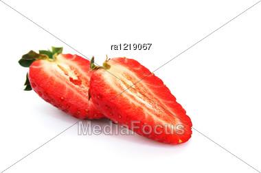 Strawberries Isolated On White Background. Stock Photo