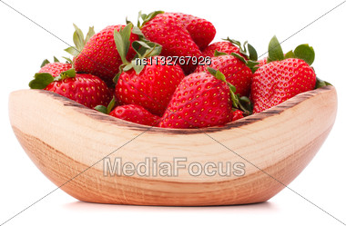 Strawberries In Wooden Bowl Isolated On White Background Cutout Stock Photo