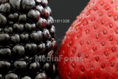 Strawberry And Blackberry Close Up Macro Studio Stock Photo