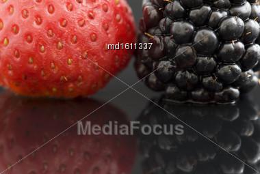 Strawberry And Blackberry Close Up Macro Studio Stock Photo
