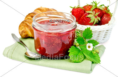 Strawberry Jam In A Glass Jar, Layered Bun, Strawberry, Napkin, Spoon Isolated On White Background Stock Photo