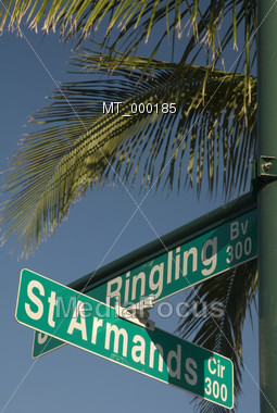 Street Signs at St. Armands Circle Sarasota Stock Photo