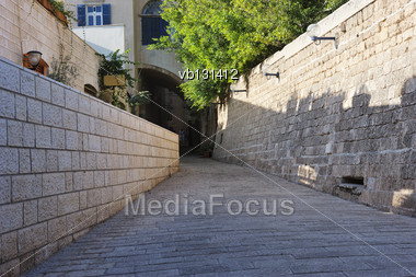 Streets And Houses Of Old Jaffa Stock Photo
