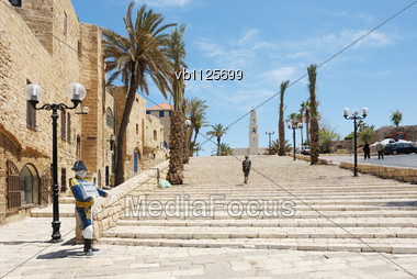 Streets, Houses And Trees Of Old Jaffa Stock Photo